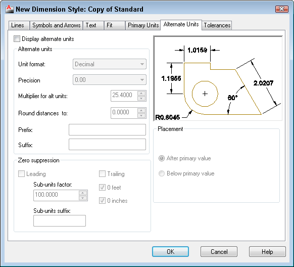 AutoCAD Dimension Styles Manager Alternate Units tab