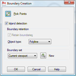 Create a polyline from the boundary of existing objects
