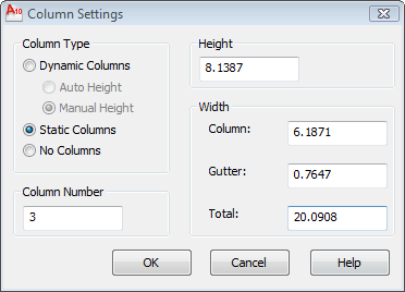 AutoCAD Column Settings