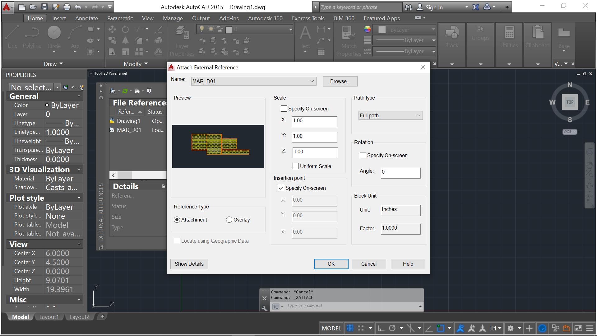Attach Xref file to Autocad